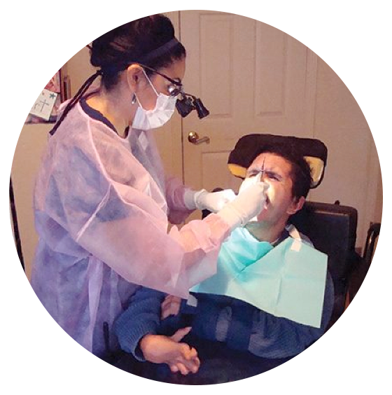 dentist attending patient